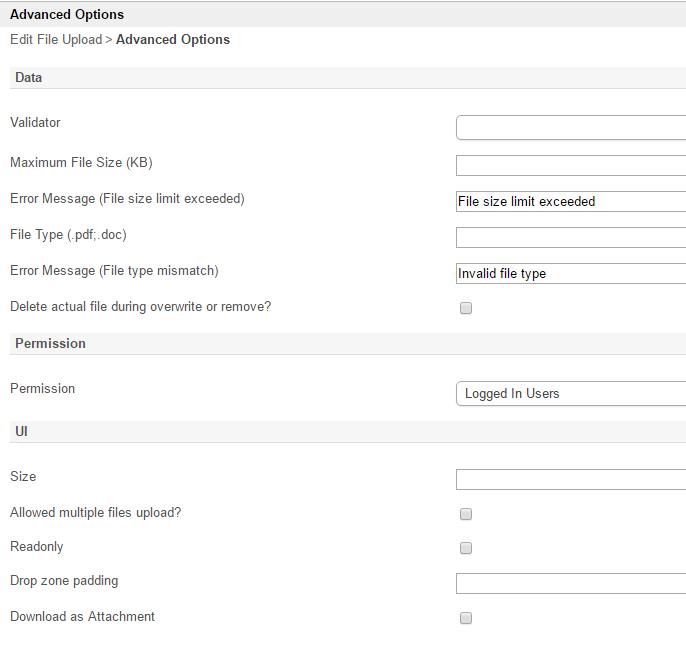 File Upload - Knowledge Base for v6 - Joget | COMMUNITY