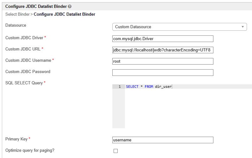 JDBC Datalist Database Binder - Knowledge Base for v6 - Joget