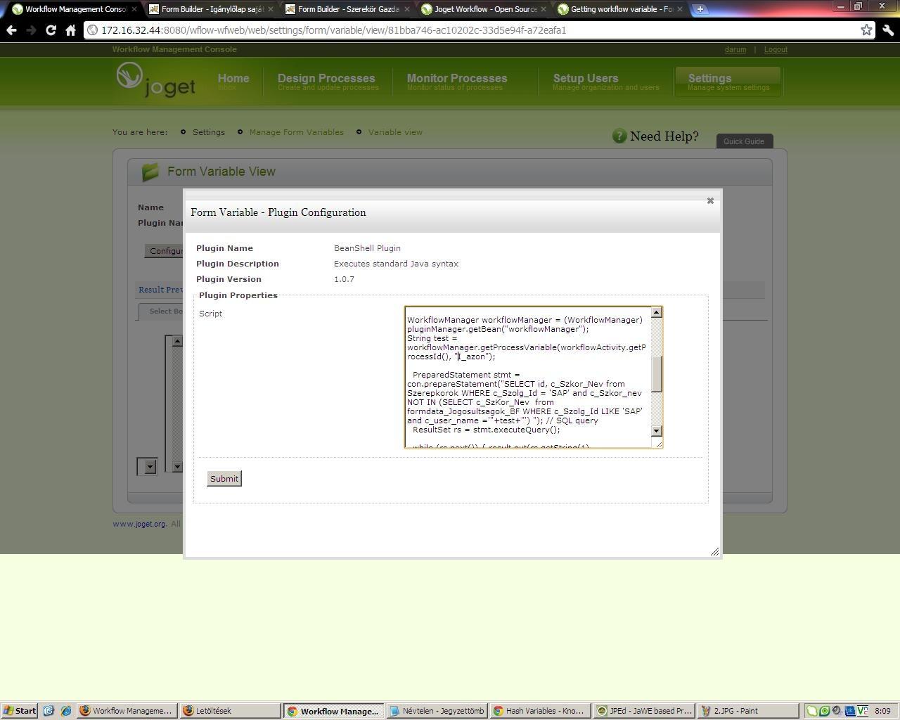 Workflow variable value beanshell problem - Forums - Joget | COMMUNITY