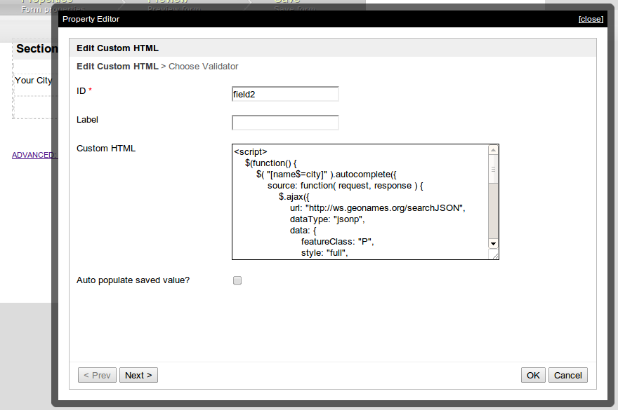 Autocomplete Text Field - Knowledge Base for v5 - Joget